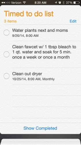list of reminder chores